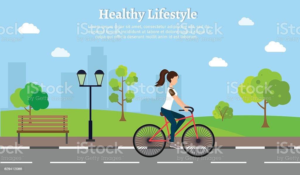 Woman fitness bike set vector illustration lifestyle cityscape background