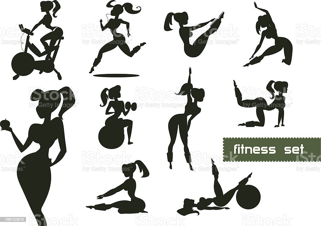 Woman fitness set royalty-free stock vector art