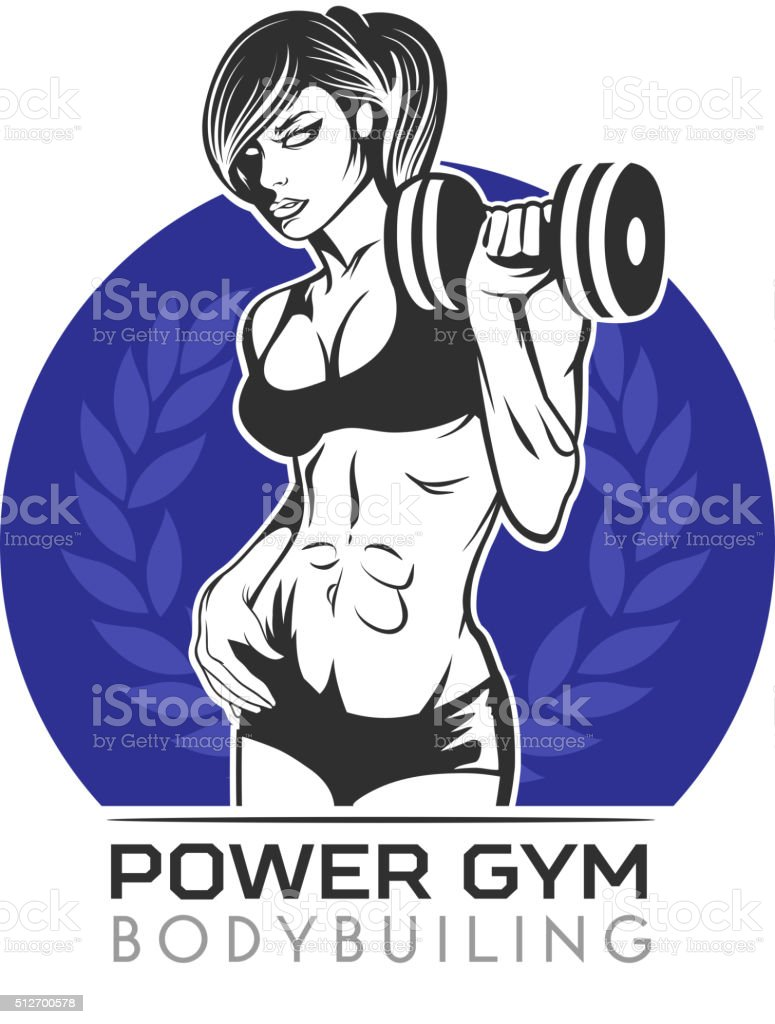 Woman fitness symbol vector art illustration