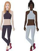 Vector flat style woman figures, different skin types, two standing girls