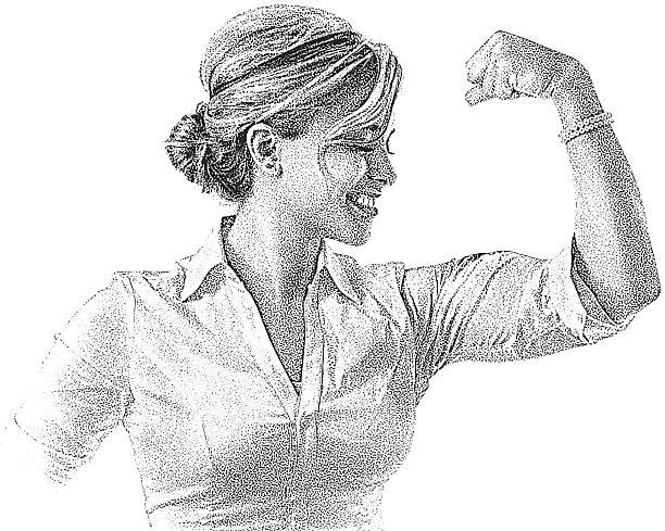 ilustrações de stock, clip art, desenhos animados e ícones de mulher fazer músculo - portrait of confident business