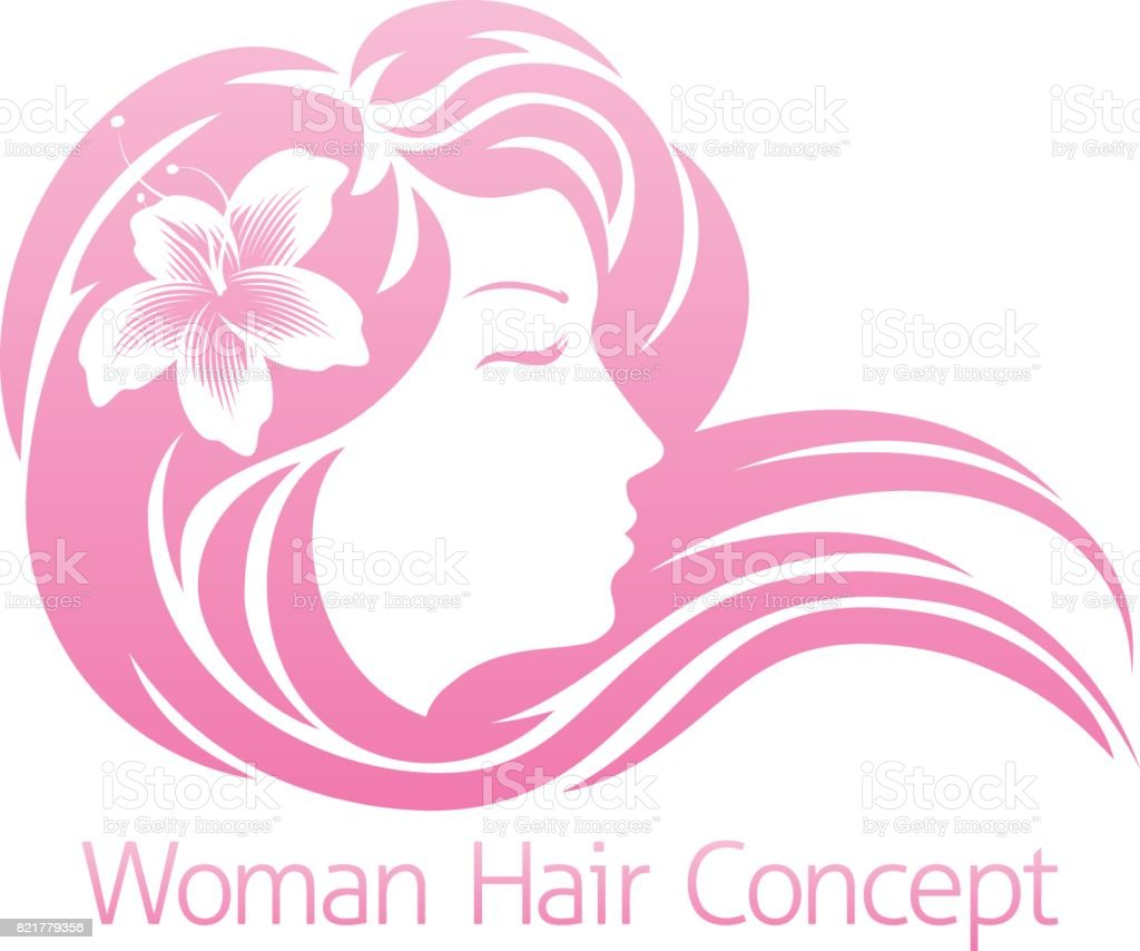 Woman Flower Hair Concept vector art illustration