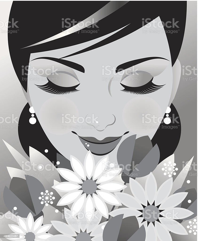 Woman Flowers vector art illustration