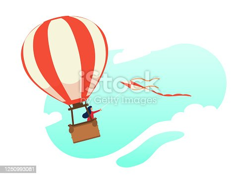 istock Woman flying in a hot air balloon with flying kite. Flat character. Stock vector. Illustration of flight, dream, travel. 1250993081