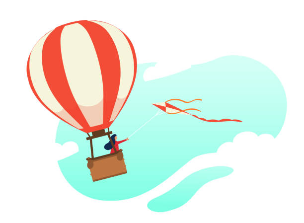 Woman flying in a hot air balloon with flying kite. Flat character. Stock vector. Illustration of flight, dream, travel. Woman flying in a hot air balloon with flying kite. Modern flat character. Stock vector. Beautiful illustration of flight, dream, travel, pacification, freedom. hot air balloon stock illustrations