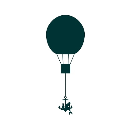 Woman Flying On Air Balloons.