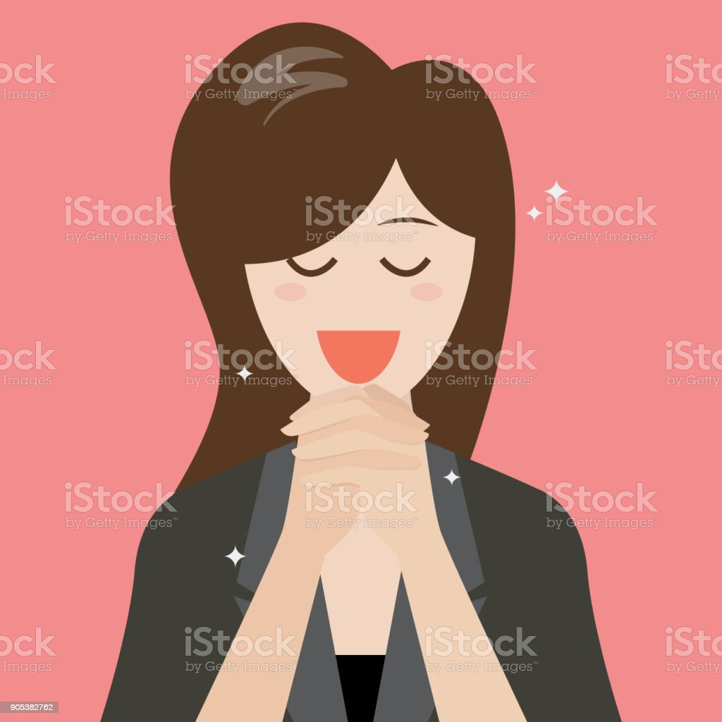Woman folded her hands for praying