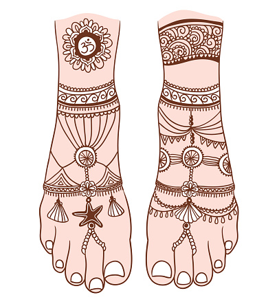 Woman foot with magic mehendi and boho jewelry. Vector illustration isolated. Tattoo design, mystic magic symbol for your print.  Indian motifs and boho style.