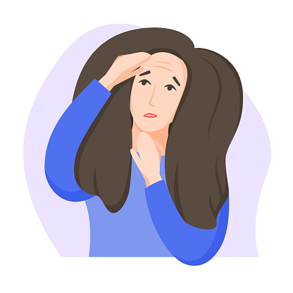 Woman found first wrinkles, worry about getting old, dissatisfaction with oneself, appearance-related social pressure and ageism issue, flat style. Vector illustration