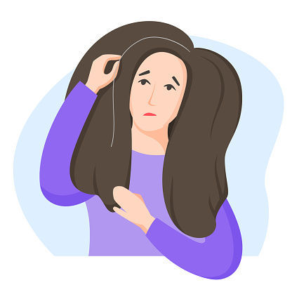 Woman found grey hair, worry about getting old and turning grey, dissatisfaction with oneself, appearance-related social pressure and ageism issue, flat style. Vector illustration