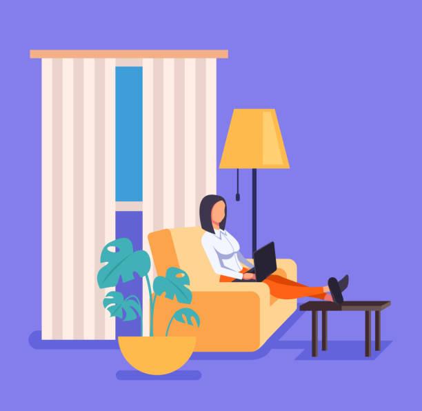 Frau freiberufliche Mitarbeiterin arbeitet zu Hause im Wohnzimmer. Vector flacher Cartoon-Grafikdesign-Illustration – Vektorgrafik