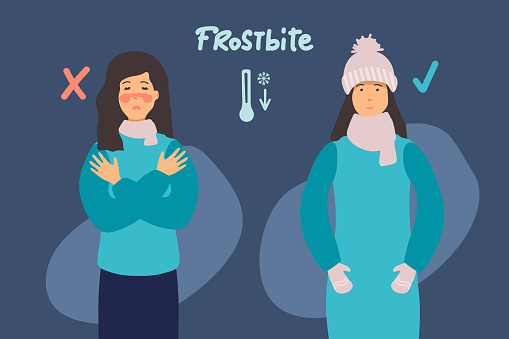 woman froze. Frostbite concept banner. Cartoon illustration of frostbite vector concept banner. the man is cold and the woman is warmly dressed. flat design. for infographic.