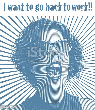 istock Woman frustrated with quarantine wanting to go back to work. 1222136042
