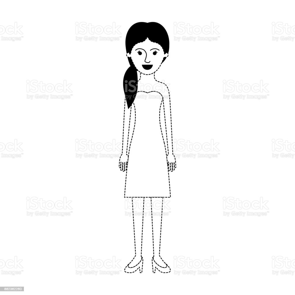 Woman Full Body With Strapless Dress And Heel Shoes With Pigtail