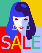 Female face. Fashion sale banner background. Young beautiful girl with SALE word. Trendy flat style.