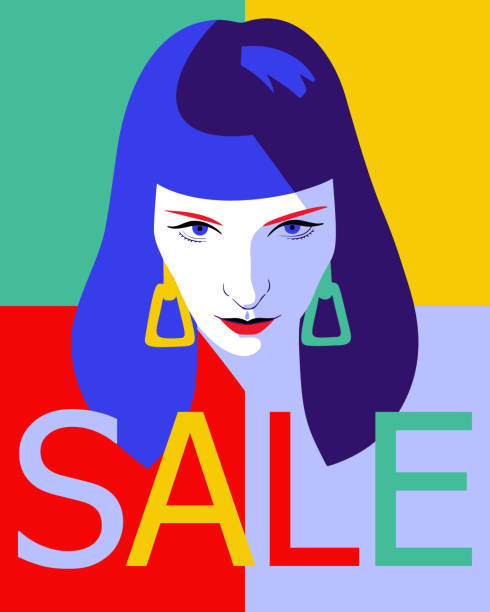 woman full face portrait. Sale word Female face. Fashion sale banner background. Young beautiful girl with SALE word. Trendy flat style. one young woman only stock illustrations