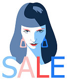 Female face. Fashion sale banner background. Young beautiful girl with SALE word isolated on white. Trendy flat style.