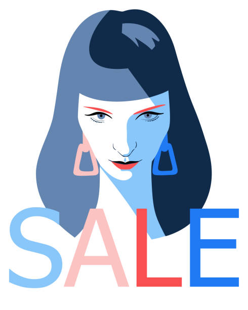 woman full face portrait. Sale word Female face. Fashion sale banner background. Young beautiful girl with SALE word isolated on white. Trendy flat style. one young woman only stock illustrations