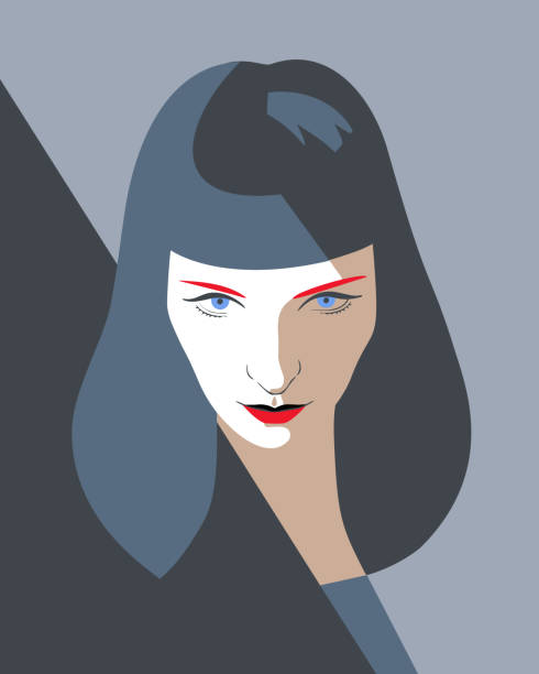 woman full face portrait. Beautiful woman full face. Close-up portrait of a elegant lady with long dark hair. Fashion model girl in pop art style, flat design. one young woman only stock illustrations