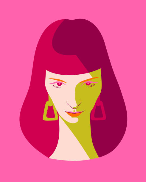 woman full face portrait. Beautiful woman full face. Close-up portrait of a elegant lady with long blue hair. Fashion model girl in pop art style, flat design. one young woman only stock illustrations