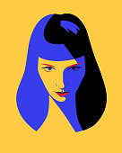 Beautiful woman full face. Close-up portrait of a elegant lady with long blue hair. Fashion model girl in pop art style, flat design.