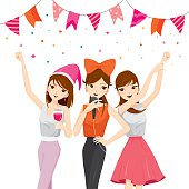 Woman Fun In Party With Drinks, Singing, Dancing, Drinking