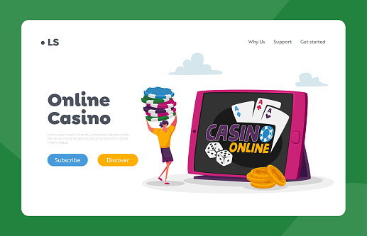 Woman Gaming, Online Income, Gambling Landing Page Template. Tiny Female Character Carry Poker Chips at Huge Tablet