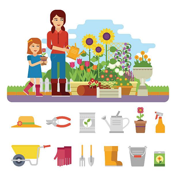 ilustrações, clipart, desenhos animados e ícones de mulher gardener - horta