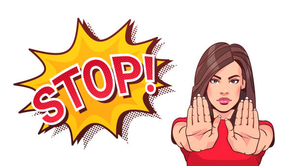 Woman Gesturing No Or Stop Sign Showing Raised Palms Woman Gesturing No Or Stop Sign Showing Raised Palms Vector Illustration stop stock illustrations