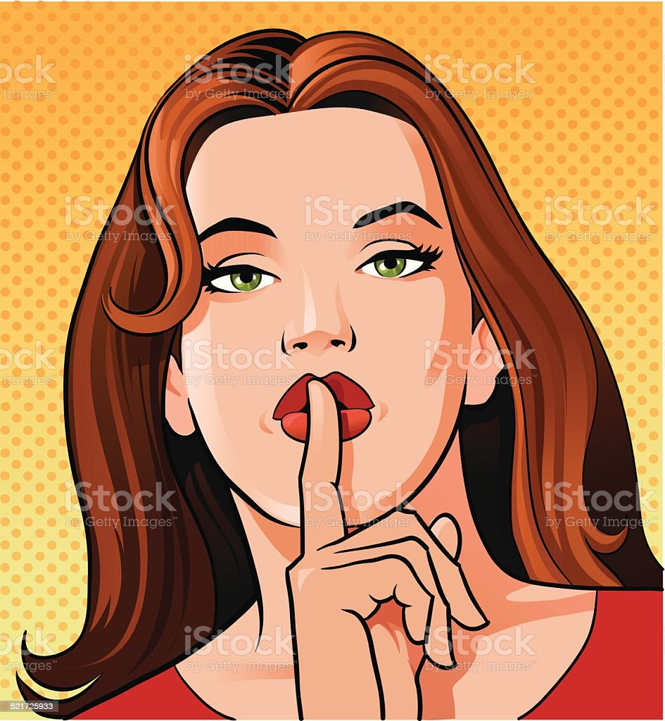 Woman Gesturing to Keep Quiet vector art illustration