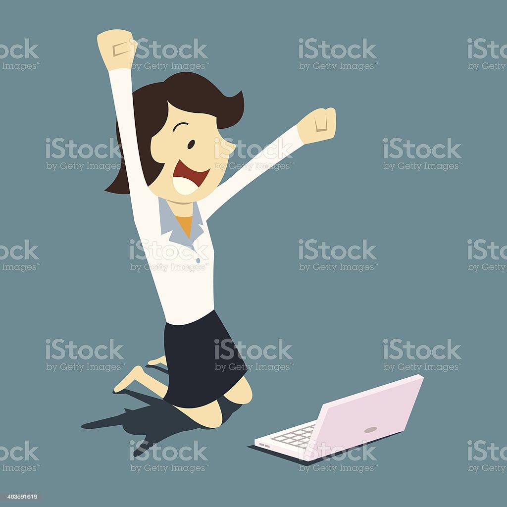 Woman get job vector art illustration