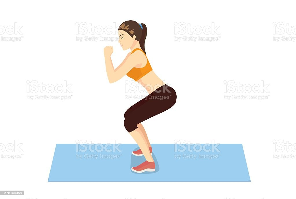 Woman get perfect butt and legs with squat workout. vector art illustration