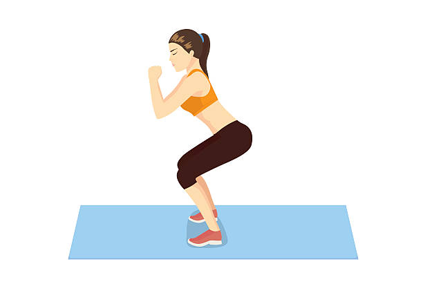 bildbanksillustrationer, clip art samt tecknat material och ikoner med woman get perfect butt and legs with squat workout. - bum