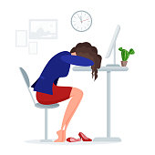 Woman get tired sleeps at work at lunch time right at the office desk near laptop. Vector illustration colorful isolated on white background
