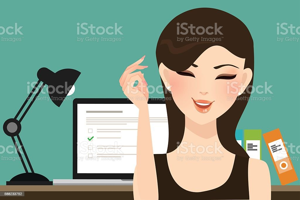 woman girl do online test exams quiz with computer laptop vector art illustration