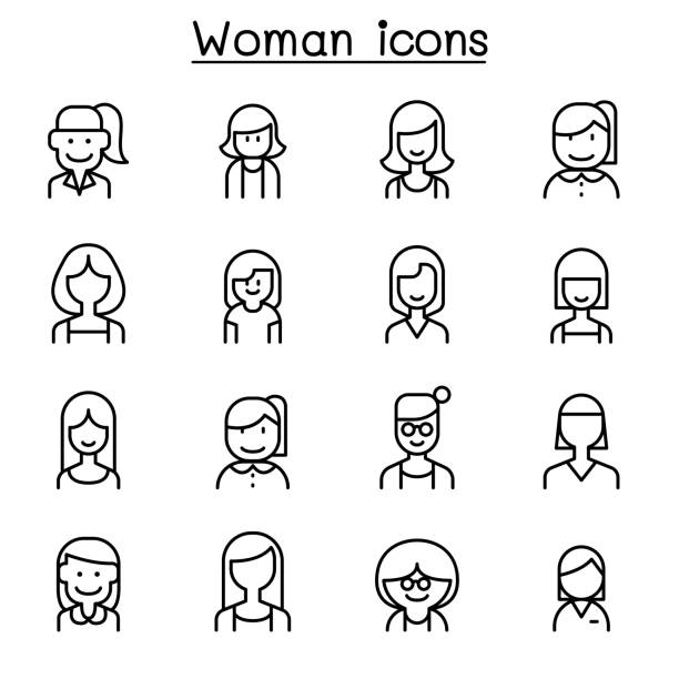 woman, girl, lady, female, mom icon set in thin line style - single mother stock illustrations