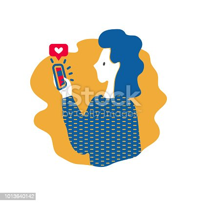 Woman gives like on social media mobile app. Vector illustration in flat style about using social networks. Concept of increasing social media engagement . EPS10.