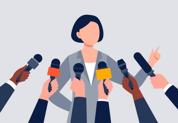 illustrations, cliparts, dessins animés et icônes de une femme donnant une interview. - interview