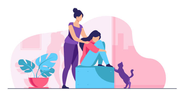 bildbanksillustrationer, clip art samt tecknat material och ikoner med kvinna ger tröst och stöd till vän - emotionellt stöd