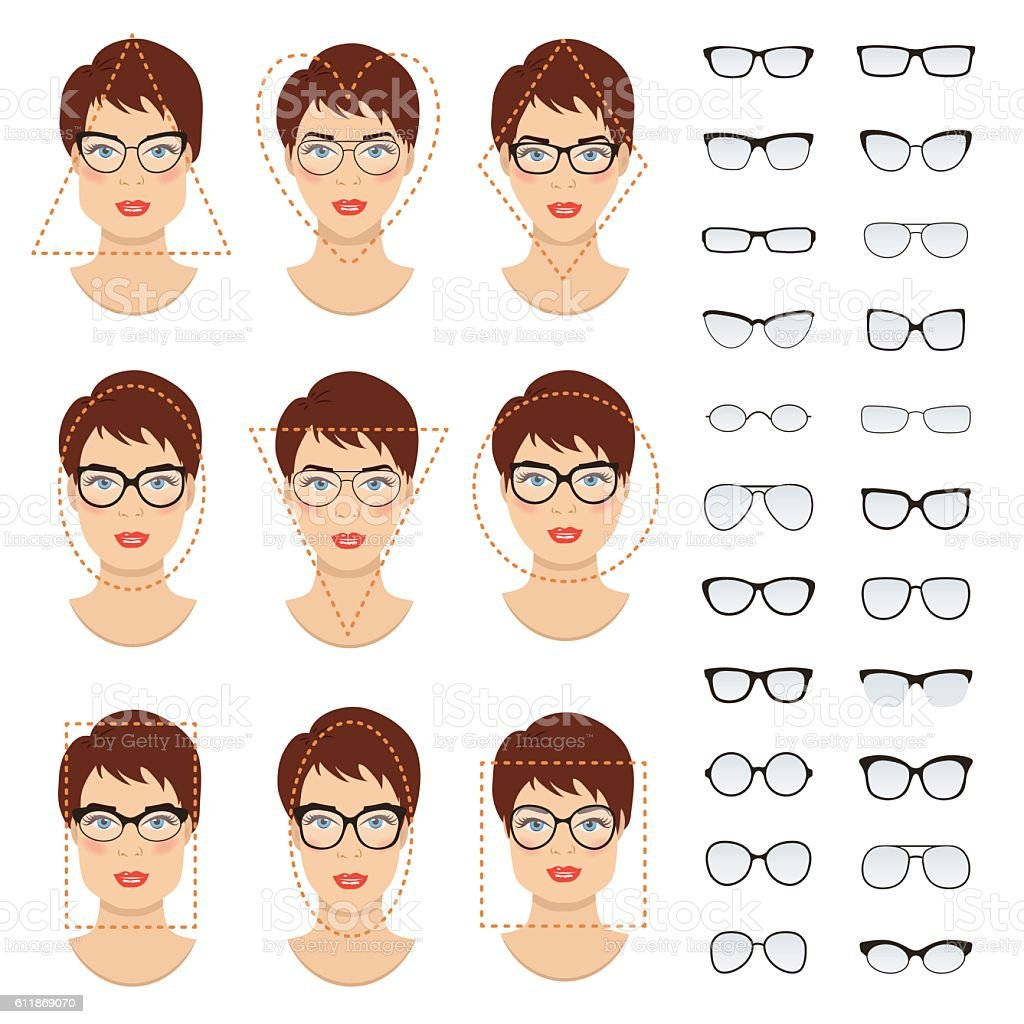 Woman Glasses Shapes For Different Women Face Types Vector