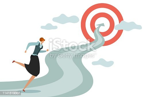 Woman goal. Business young female running to successful career and new goals, winning jumping difficulties to target vector illustration