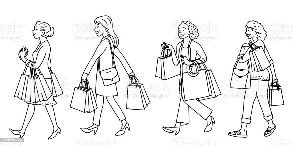 Woman going shopping linear vector art illustration
