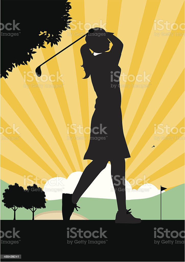 Woman Golfer Teeing off. royalty-free stock vector art