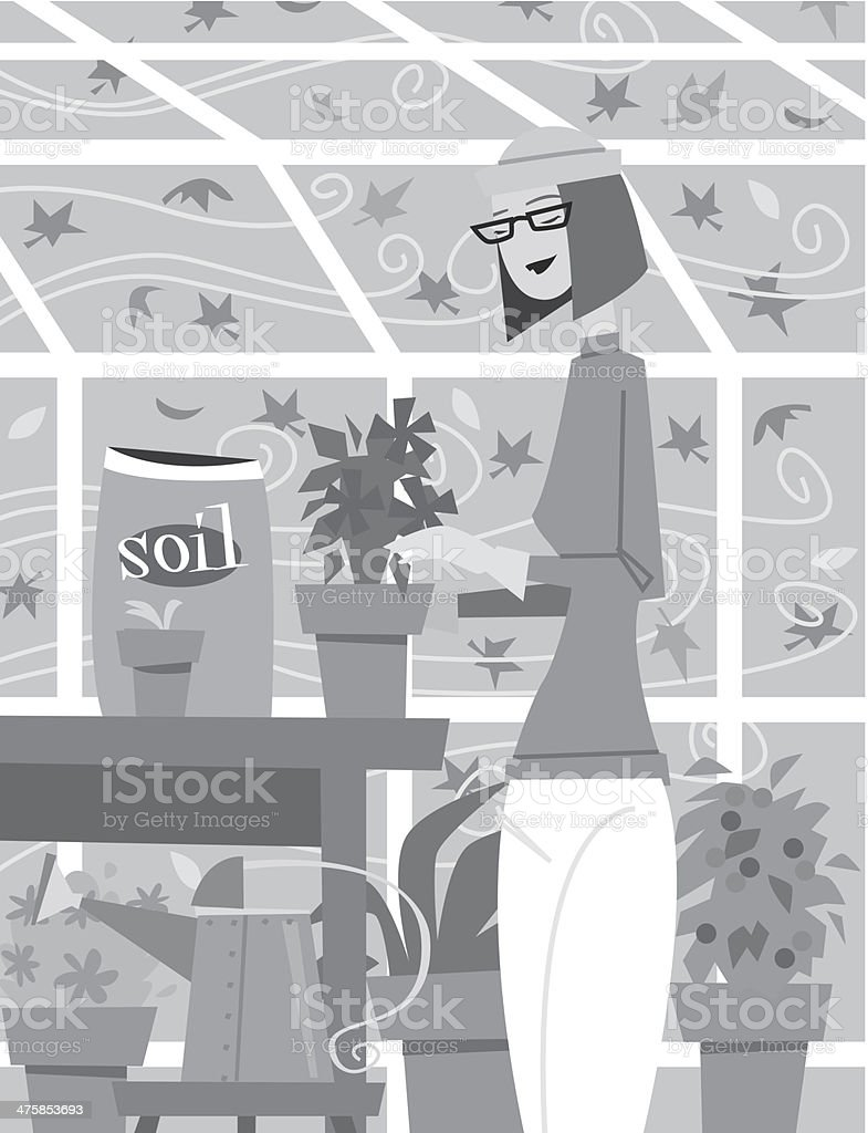 Woman Greenhouse royalty-free stock vector art