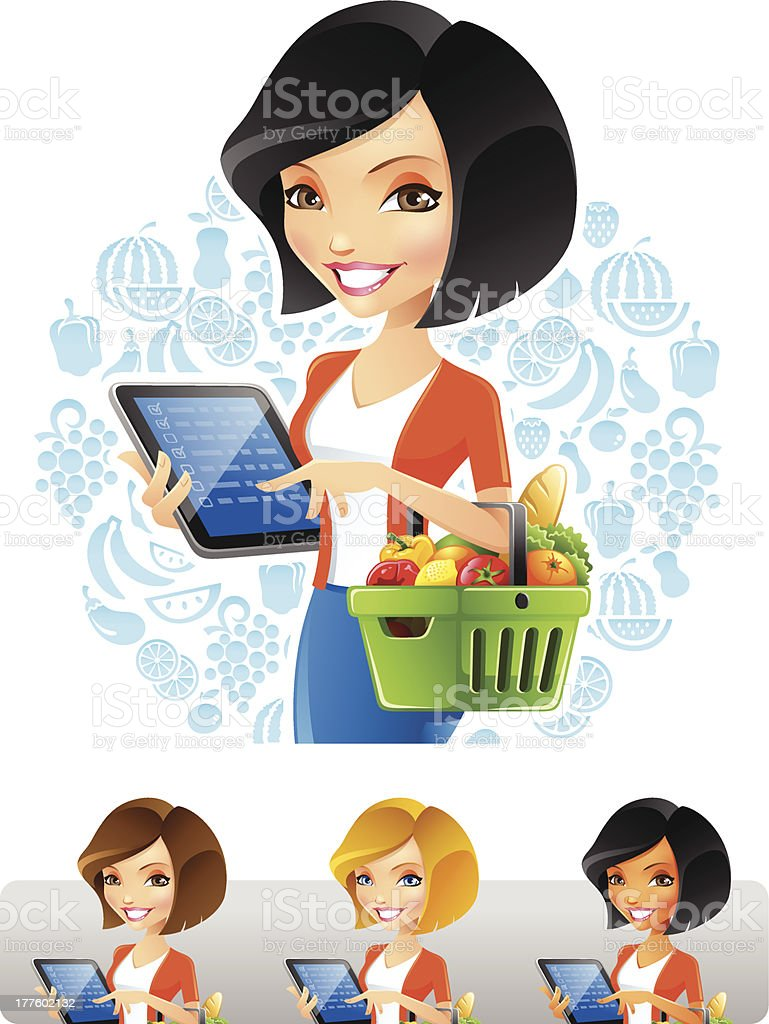 Woman Grocery Shopping with computer Tablet royalty-free woman grocery shopping with computer tablet stock vector art & more images of adult