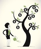 Vector illustration. Woman growing money tree. Character and objects are seperated from background
