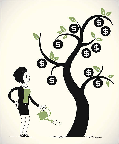 Woman growing money tree part 2 Vector illustration. Woman growing money tree. Character and objects are seperated from background money tree stock illustrations