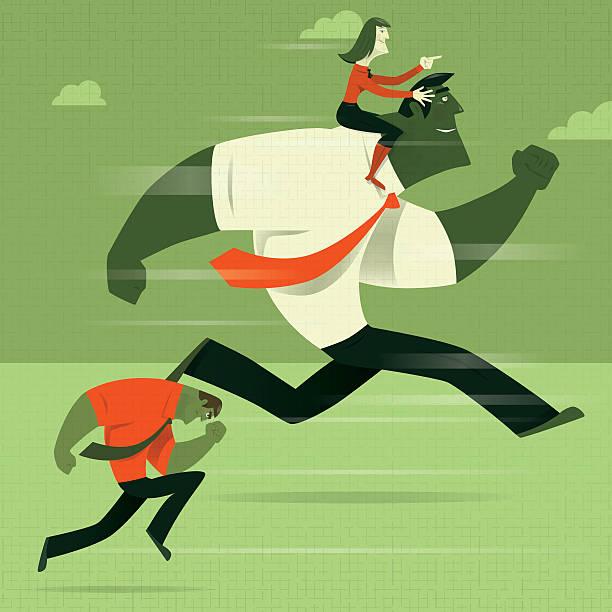 woman guiding running businessman - laufführer stock-grafiken, -clipart, -cartoons und -symbole