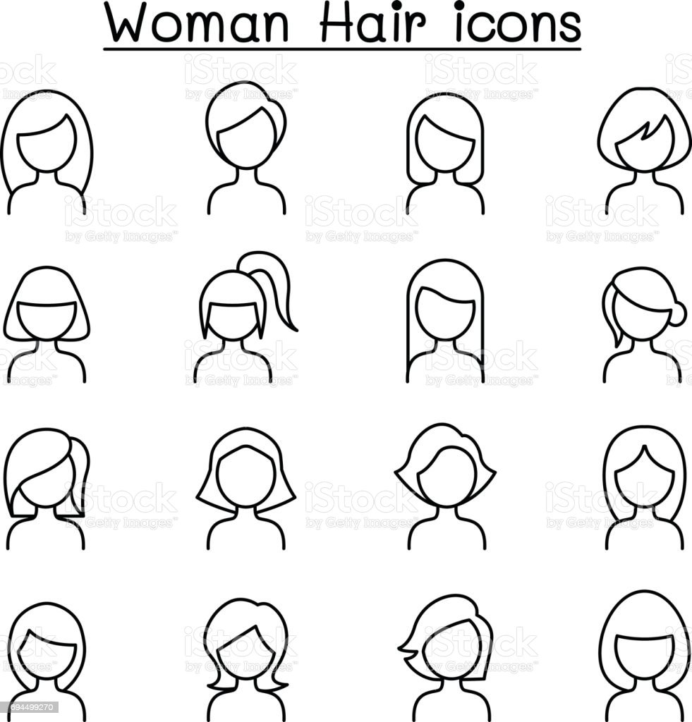 Woman Hair Style icon set in thin line style vector art illustration