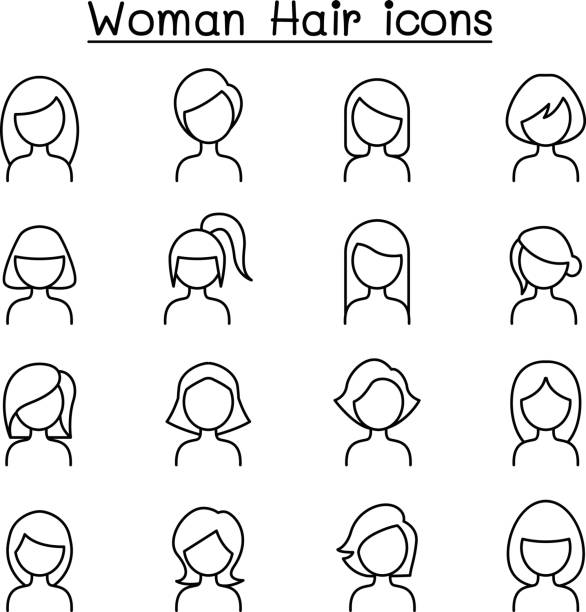 Woman Hair Style icon set in thin line style Woman Hair Style icon set in thin line style bangs stock illustrations